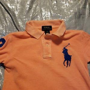 Polo boys coral colored big pony casual shirt sz 4